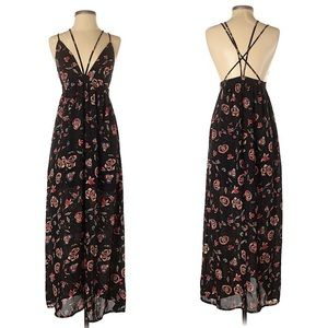 Forever21 Black Floral Low Back Strappy Maxi Dress